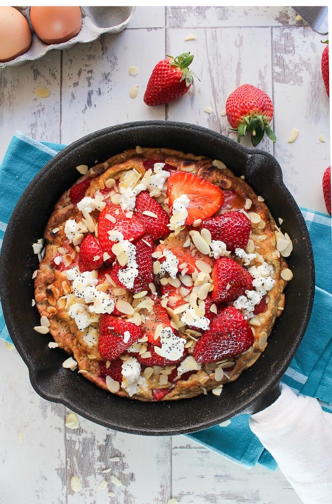 Strawberry Almond Sweet Frittata - gluten free and low carb with a dairy free option