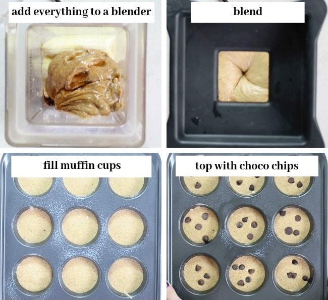 almond butter blender muffins collage