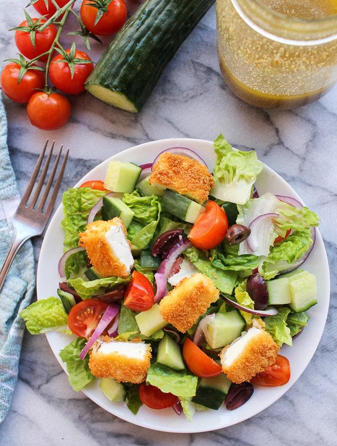 Greek Salad with Fried Feta