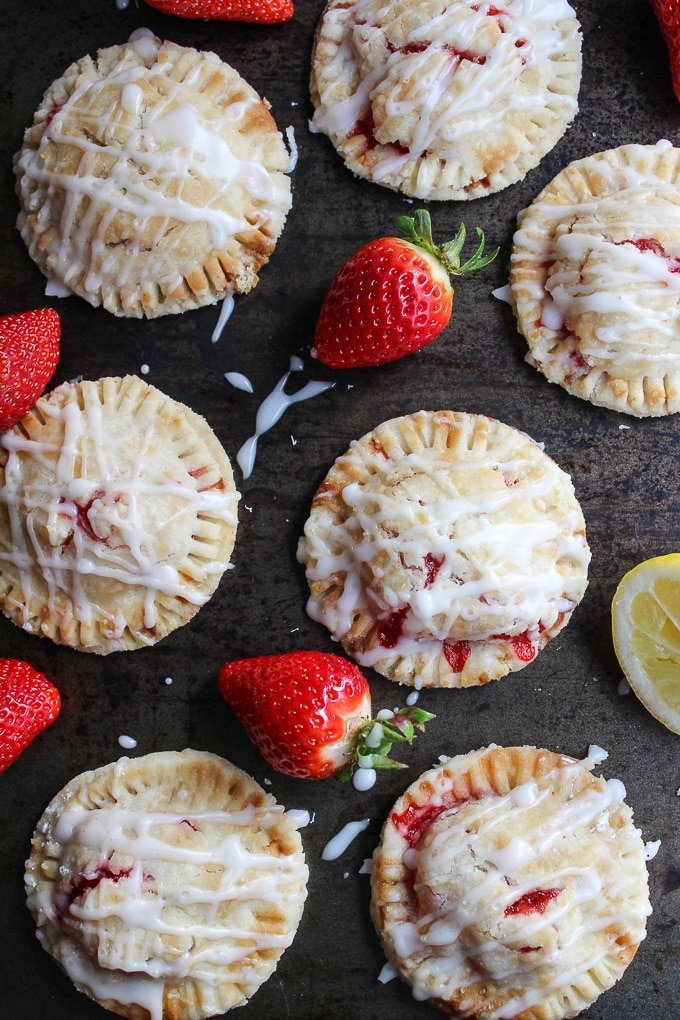 Vegan Strawberry Hand Pies with A Lemon Drizzle - made with a coconut oil crust