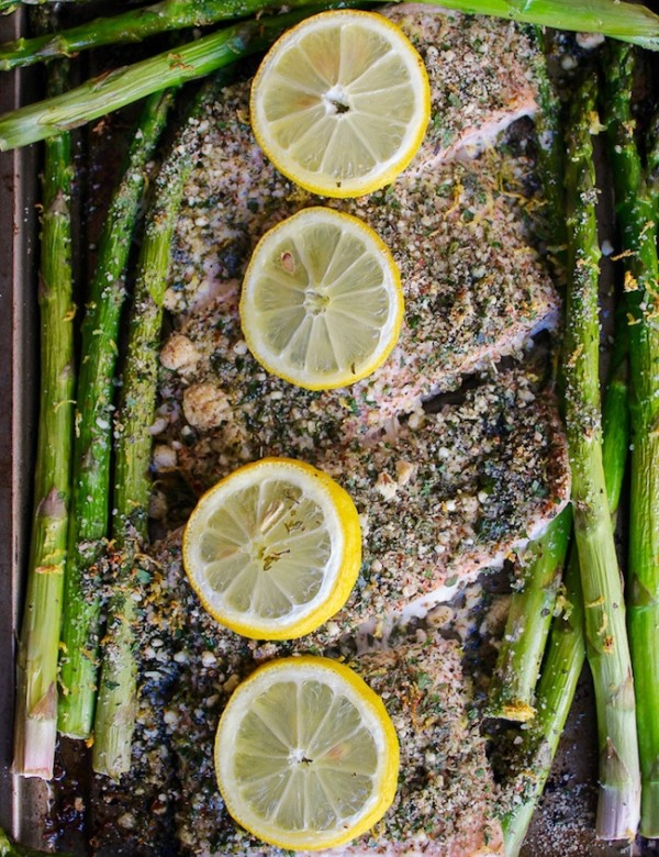 Almond and Herb Crusted Salmon with Asparagus