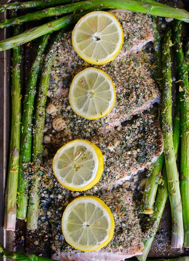 Almond & Herb Crusted Baked Salmon + Asparagus