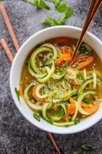 Vegetable noodle Miso Soup - an easy, 10 minute soup that's simply delicious! Grain free, Low FODMAP and Vegan options