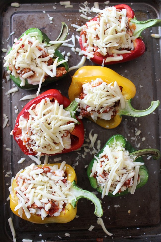 Cheesy Lasagna Stuffed Peppers - low carb, grain free, filling and delicious!