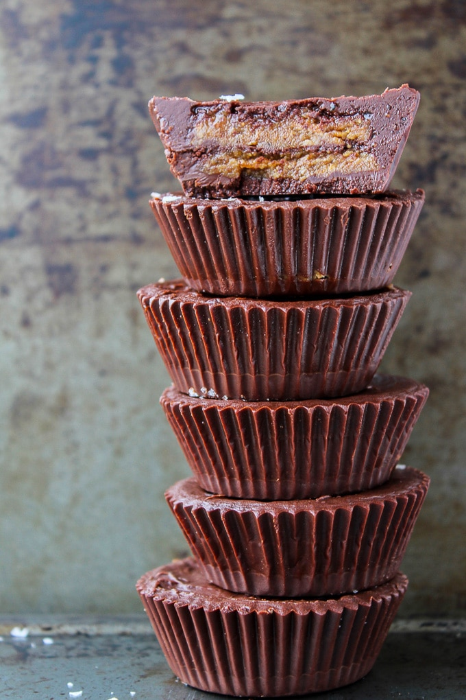 Double Decker Almond Butter Cups - made with six ingredients! Paleo, Vegan, and low FODMAP