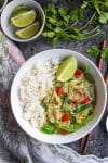 low fodmap thai green curry with white rice in a bowl