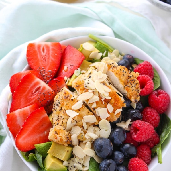 Mixed Berry, Chicken, and Avocado Spinach Salad