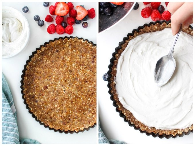 Mixed Berry & Whipped Coconut Cream Pie - a simple, naturally sweetened, no bake summer dessert