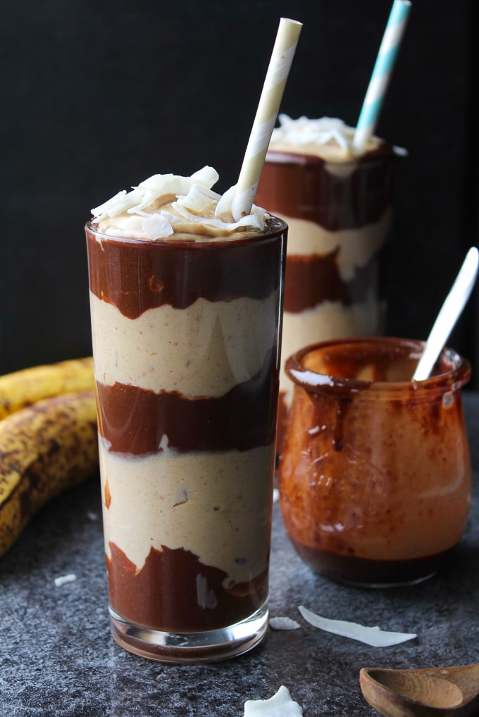 Layered Chocolate & Peanut Butter Banana Milkshakes