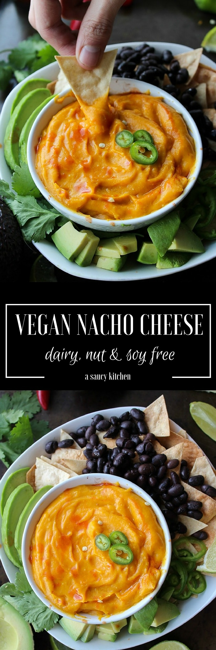 Simple Vegan Nacho Cheese - made with only a handful of ingredients (plus water and salt but those don't count)! dairy, nut, and soy free