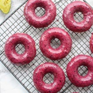 Blueberry Lime Glazed Baked Vegan Donuts