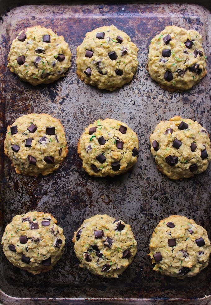 Chocolate Chip Oatmeal Zucchini Cookies - a quick and easy one bowl recipe! Gluten Free, Vegan & Low FODMAP