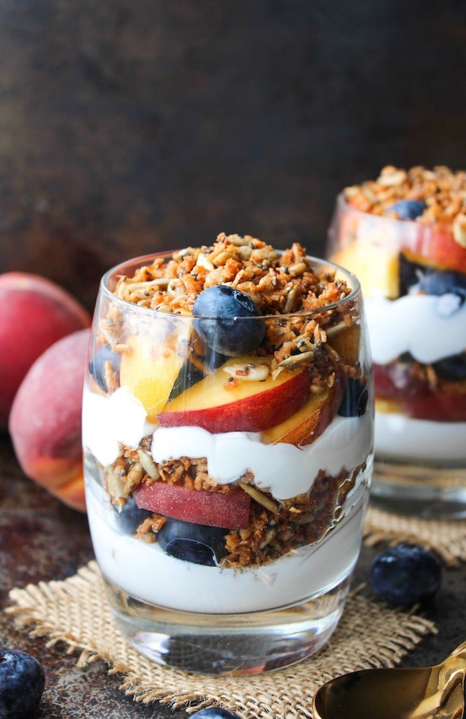 Paleo Blueberry & Peach Parfait