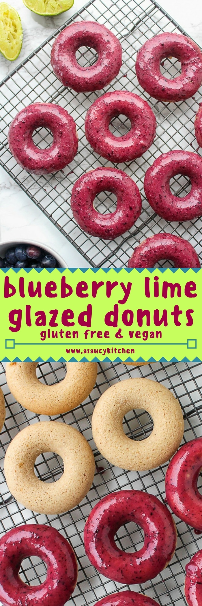 Blueberry lime glazed baked vegan donuts made with aquafaba!