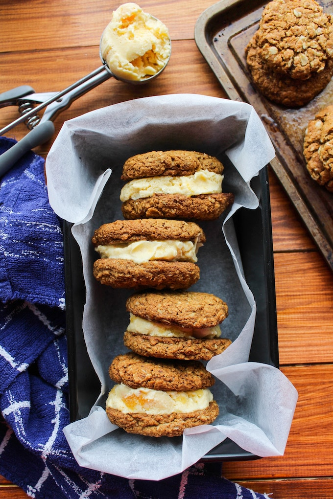 Oatmeal Cookie & Peach Ice Cream Sandwiches