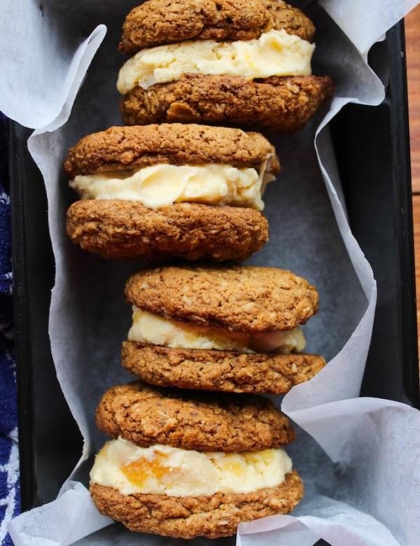 Oatmeal Cookie & Peach Ice Cream Sandwiches