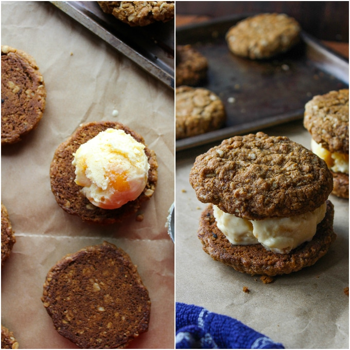 Oatmeal Cookies & Ice Cream Sandwiches - gluten free & vegan