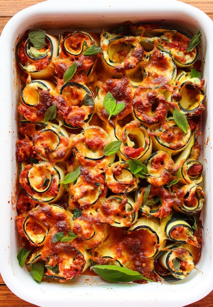 Vegetarian Zucchini Lasagna Spirals - A Saucy Kitchen