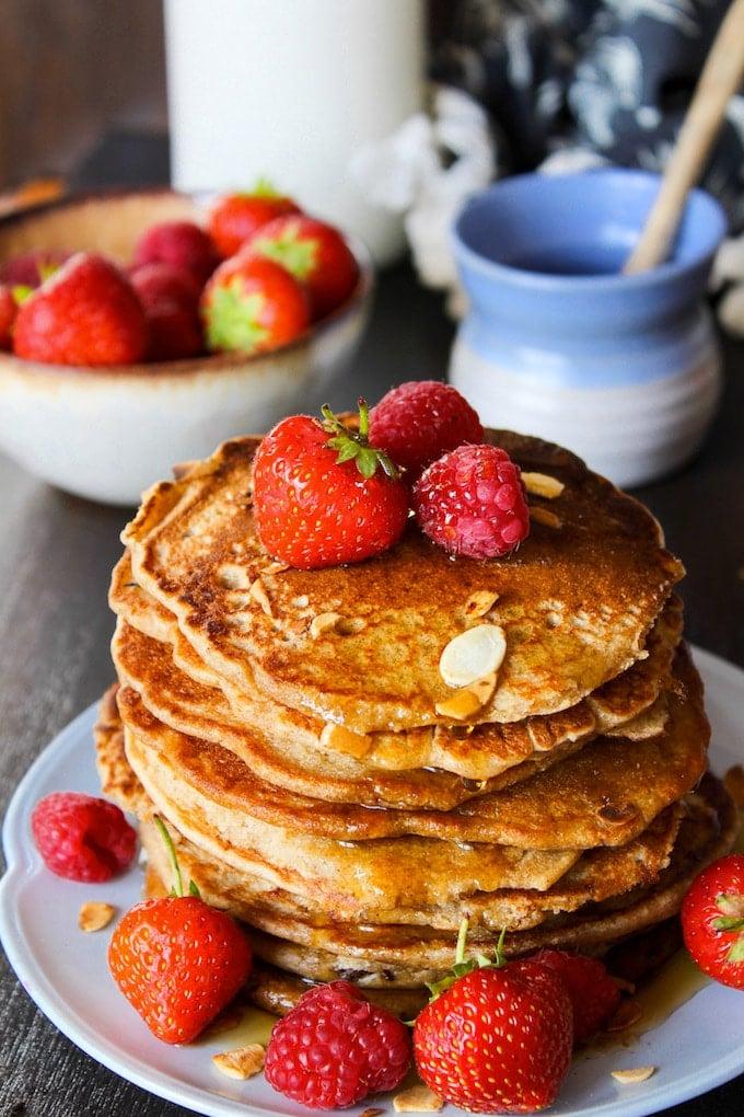 Sweet and nutty aquafaba Buckwheat & Oat Pancakes   gluten free + vegan + low FODMAP