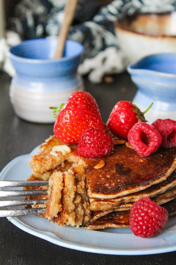 Sweet and nutty aquafaba Buckwheat & Oat Pancakes | gluten free + vegan + low FODMAP
