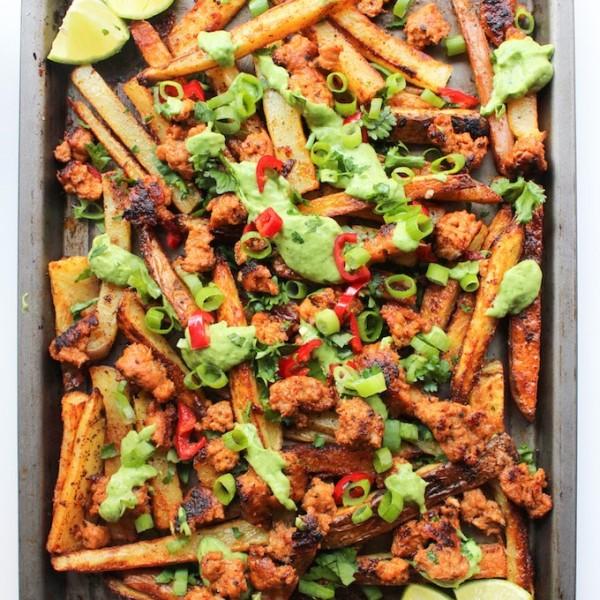 Cajun Baked Fries with Chorizo & Avocado Crema