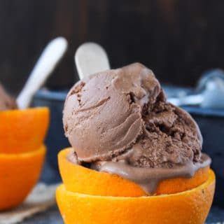 This decadent five ingredient Chocolate Orange Ice Cream is gluten free, dairy free, paleo and vegan - ideal recipe for a warm summer's day!