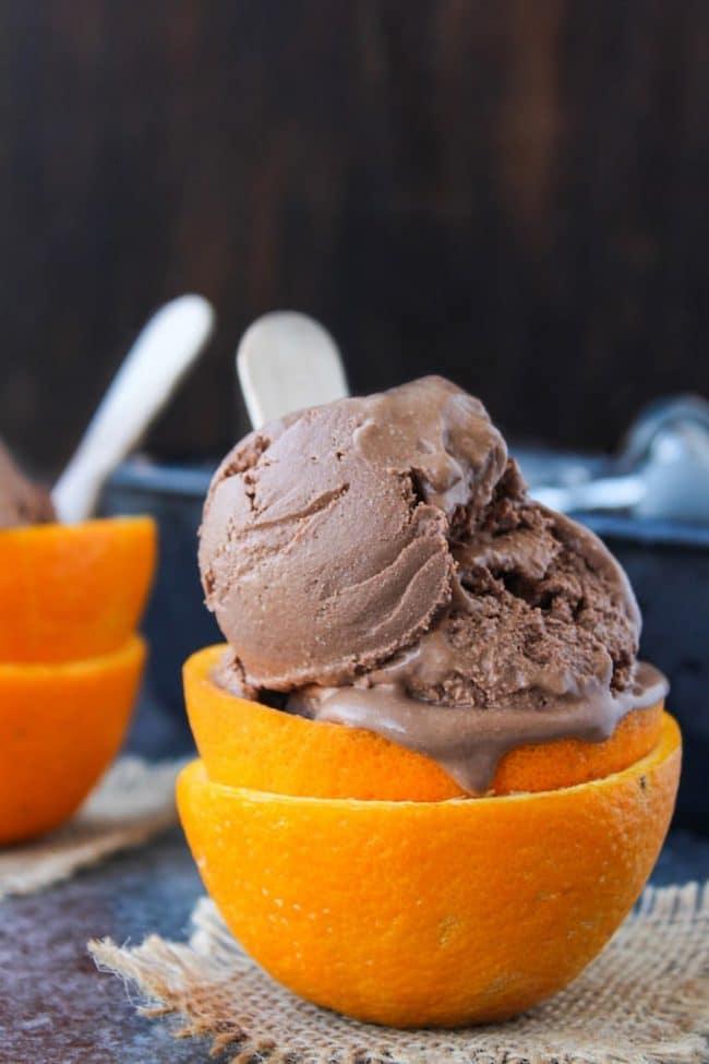 Chocolate Orange Ice Cream in an empty orange peel