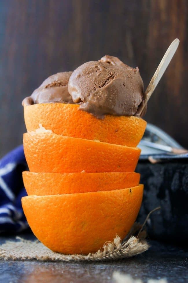 Chocolate Orange Ice Cream in a stack of orange peels