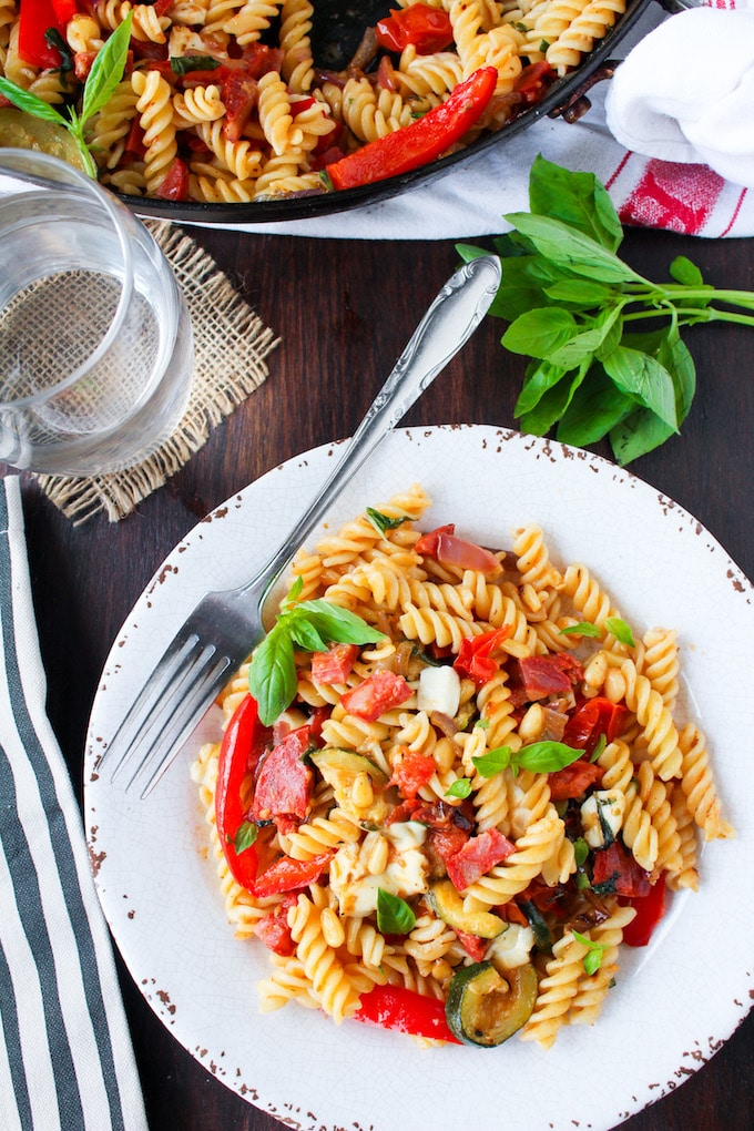 Chorizo & Roasted Veggie Pasta Salad - packed with fresh herbs, mozzarella, and garden vegetables over gluten free pasta!