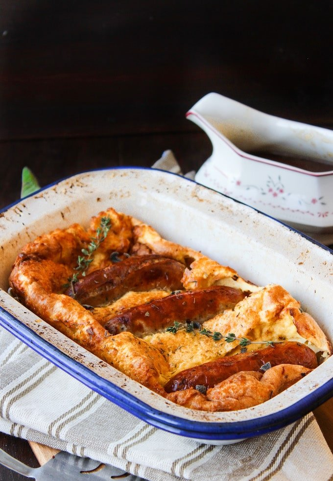 This rustic Toad in the Hole recipe is Gluten-free, Dairy-free, Grain-free and sure to make your mouth water! Freezer friendly.