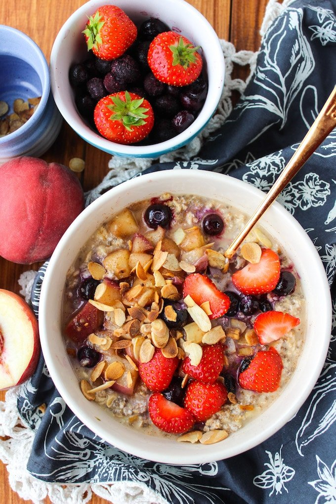 Peach & Summer Berry Overnight Oats with Chia Seeds