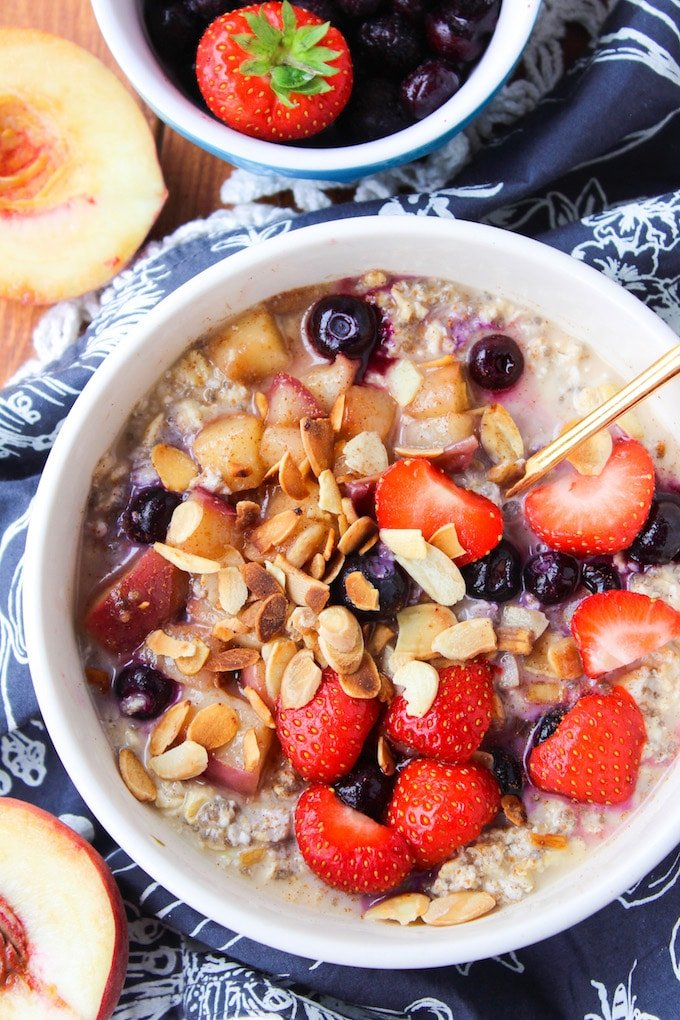 Peach & Berry Overnight Oats – throw together the night before to enjoy a quick and filling breakfast. Loaded with peaches, blueberries, and chia seeds!