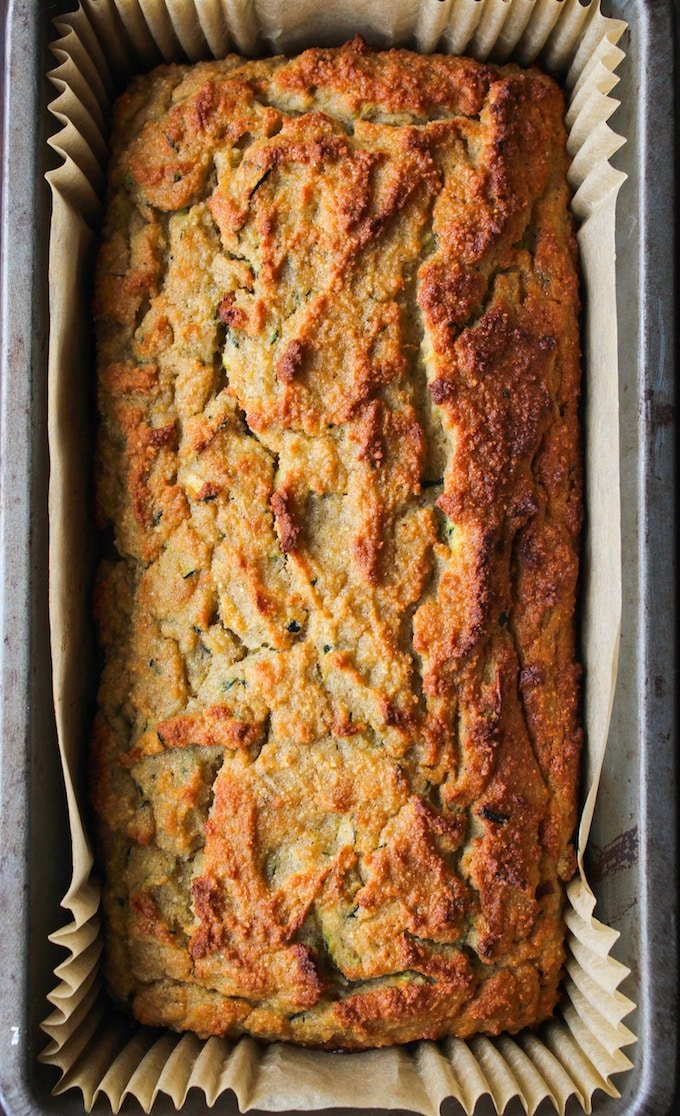 Paleo Zucchini Bread loaf still in the loaf pan
