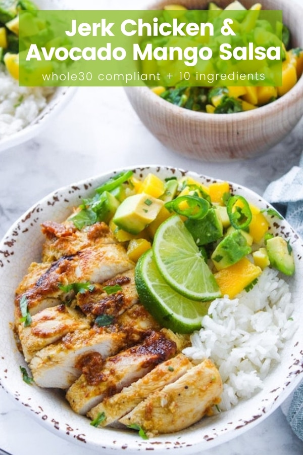 Whole 30 friendly Jerk Chicken with a simple mango & avocado salsa - sweet, spicy, and packed with flavor. #PaleoDinner & #GlutenFree #Whole30 #JerkChicken #Salsa #HealthyDinner #HealthyRecipes #Avocado