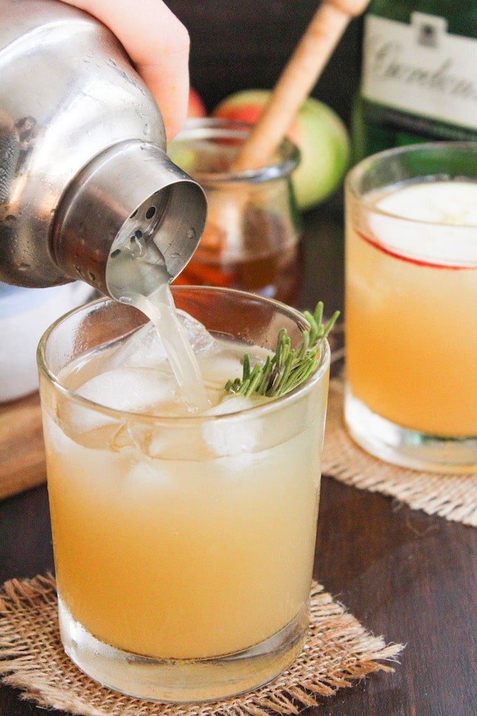 This apple bees knees cocktail adds a seasonal twist to the classic gin cocktail