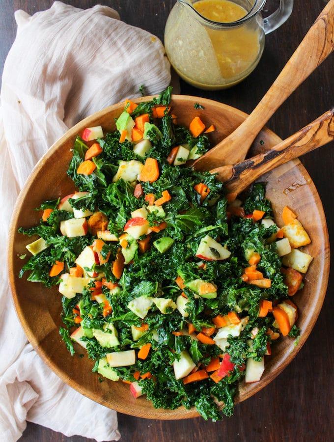 Carrot Apple & Massaged Kale Salad