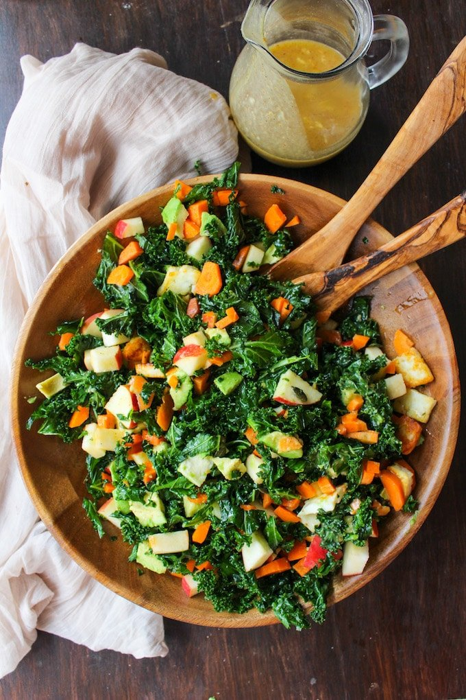 Carrot Apple & Massaged Kale Salad