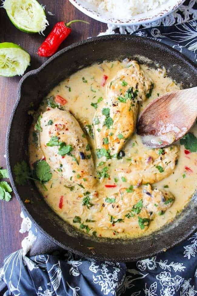Coconut Lime Chicken in a cast iron skillet