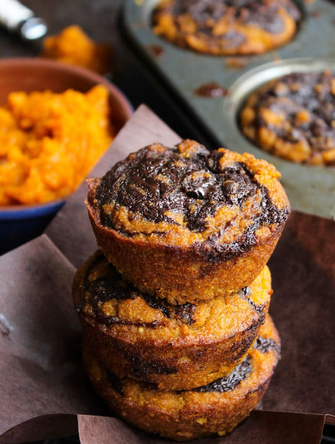 Paleo Pumpkin Muffins with a Chocolate Swirl + Video