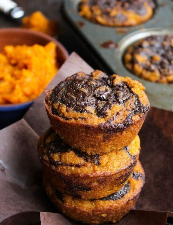 Paleo Pumpkin Muffins with a Chocolate Swirl stacked