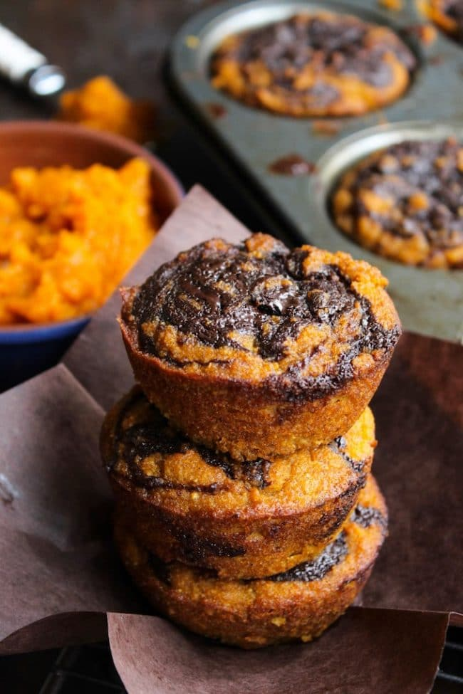 Paleo Pumpkin Muffins with a Chocolate Swirl