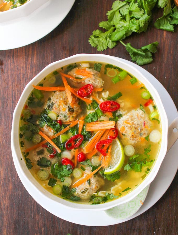 Thai Meatball and Egg Drop Soup