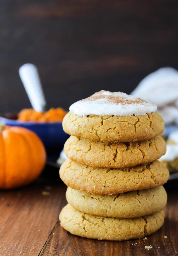 Simple frosted vegan pumpkin cookies with hints of pumpkin spice made with one bowl in under an hour | Gluten Free + Dairy Free