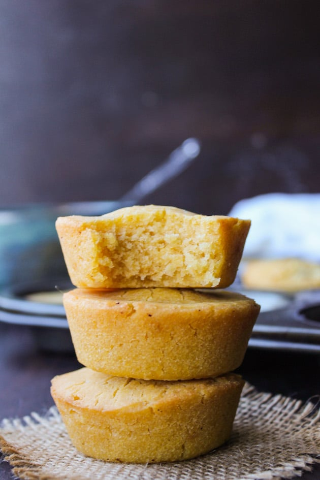 Vegan cornbread muffins made with aquafaba - incredibly easy with just the right amount of crumble. Egg Free + Dairy Free + Gluten Free