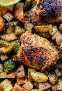One Pan Chicken Lemon & Garlic Roasted Veggies