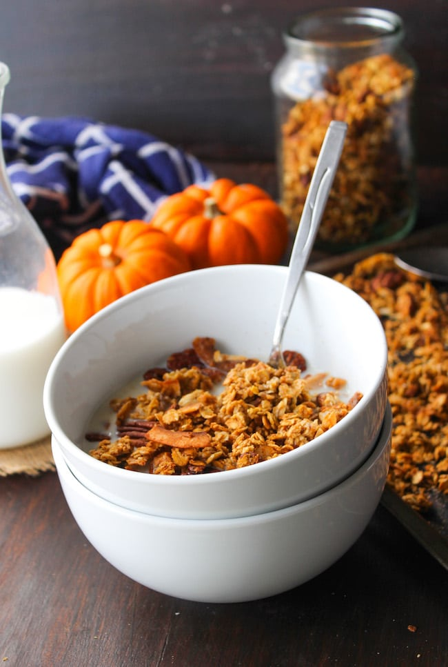 Homemade pumpkin spice granola - rolled oats, coconut flakes, and raw pecans with real pumpkin! Gluten Free + Vegan + Low FODMAP