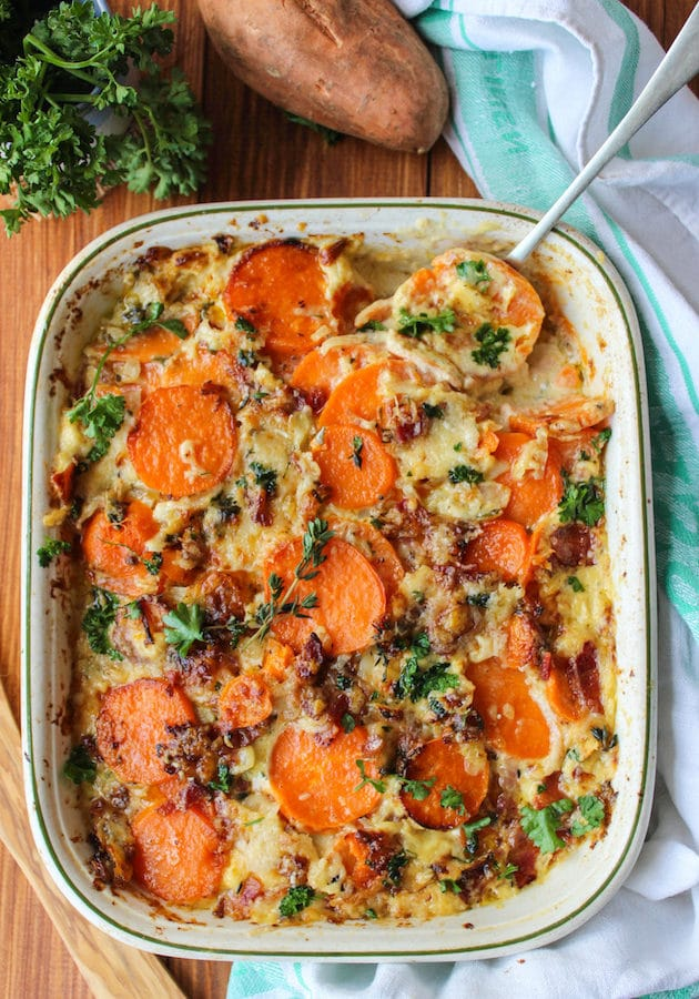 Scalloped Sweet Potatoes with Bacon &  Herb Sauce