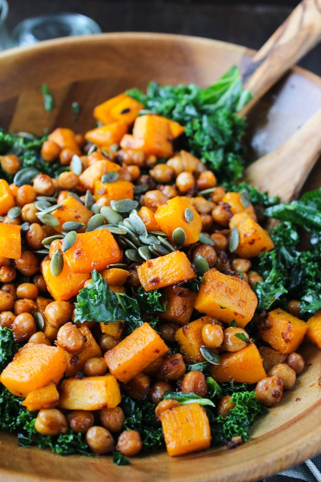 Spicy Kale and Chipotle Chickpea and Roasted Butternut Squash Salad in a sald bowl