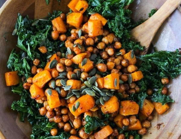 Spicy Kale and Chipotle Chickpea and Roasted Butternut Squash Salad