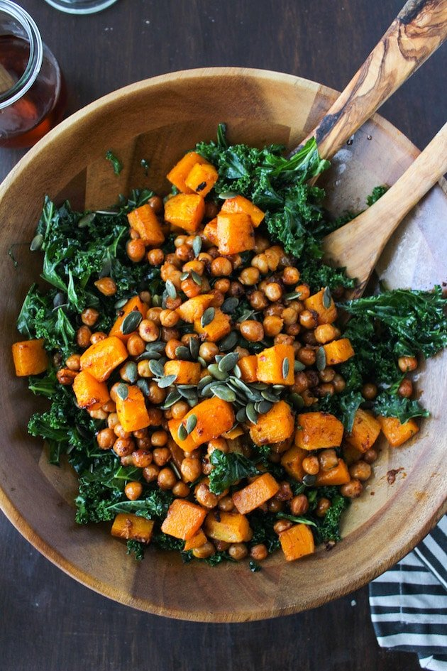 Spicy Kale and Chipotle Chickpea and Roasted Butternut Squash Salad in a large salad bowl